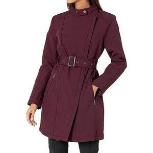 Kenneth Cole Asymmetrical Belted Long Jacket XL